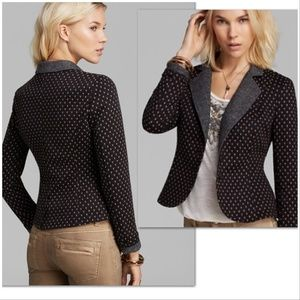 Free People Polka Dot Black & Tan Blazer Sz S EUC